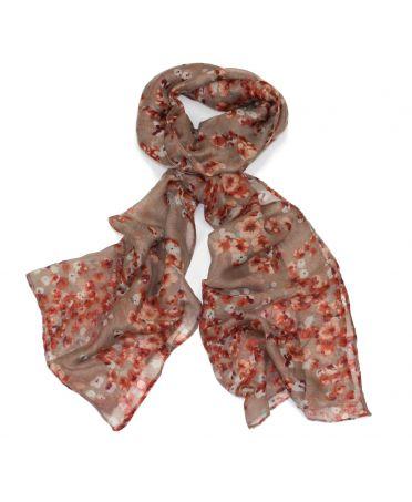 Poppy hnědý dámský maxi šátek Floral 1068 xs1068c12
