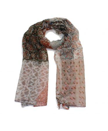 Poppy hnědý dámský maxi šátek Floral Paisley 1609 xs1609c08