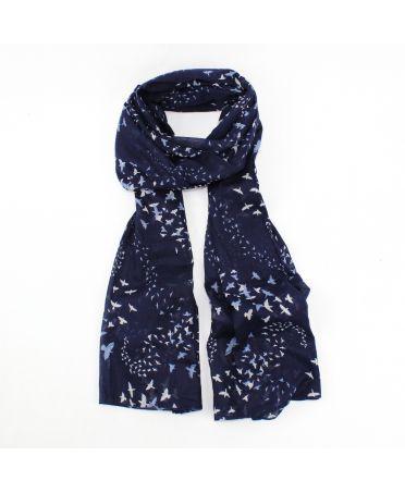Hazel & Pip modrý dámský maxi šátek Murmuration 3014 rh3014navy