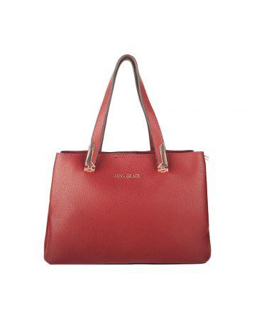 Anna Grace vínově červená střední shopper kabelka 736 AG00736_BURGUNDY