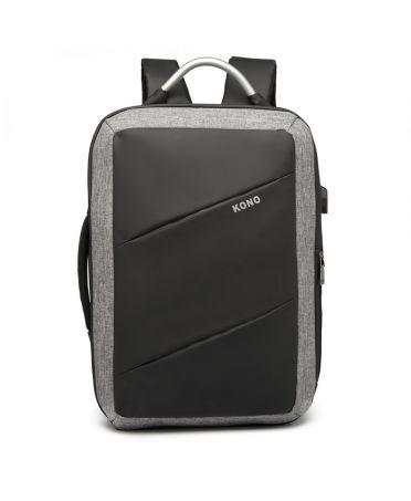 Kono voděodolný batoh šedý-černý UNISEX s USB portem 6870 E6870_BK