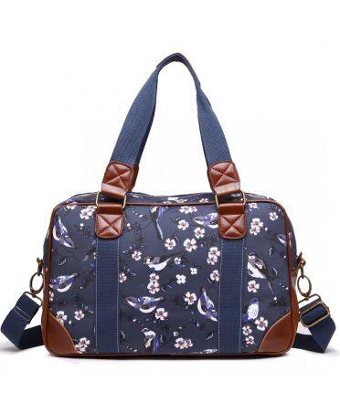 Miss Lulu dámská víkendová cestovní taška NAVY BIRDS 1106-16J L1106_16J_NY