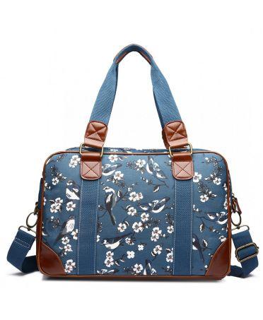 Miss Lulu dámská víkendová cestovní taška modrá BIRDS 1106-16J L1106_16J_DBE
