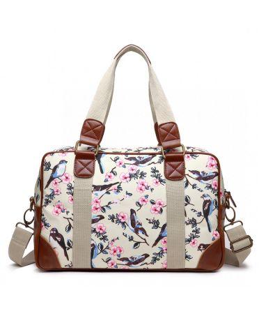 Miss Lulu dámská víkendová cestovní taška béžová BIRDS 1106-16J L1106_16J_BG