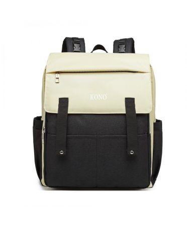 Kono multifunkční krémový-černý batoh pro maminky s USB portem 6705 E1970_BK