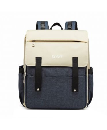 Kono multifunkční krémový-modrý batoh pro maminky s USB portem 6705 E1970_NY