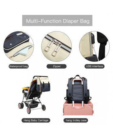 Kono mateřský přebalovací batoh nejen na kočárek modrý s USB 1970 E1970_NY