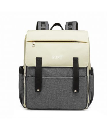 Kono multifunkční krémový-šedý batoh pro maminky s USB portem 6705 E1970_GY