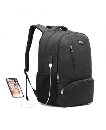 Kono voděodolný batoh černý UNISEX s USB portem 1978 E1978_BK