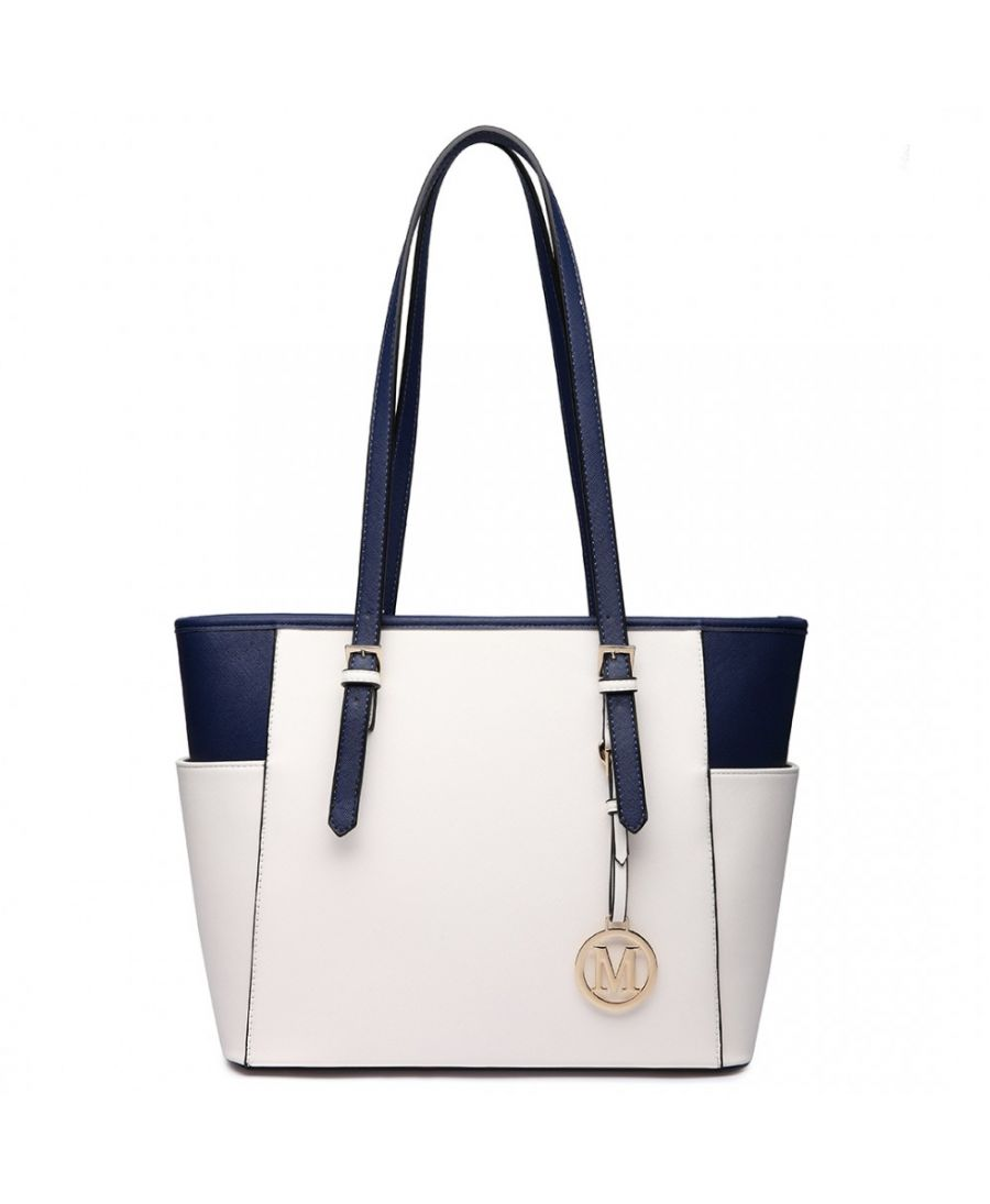 Miss Lulu krémová shopper kabelka ADJUSTABLE HANDLE PLUM 1642-1 LM1642-1PM