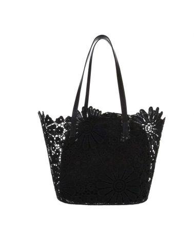 Dudlin Firenze černá krajková shopper kabelka 6340-2c ta6340-2c-bk