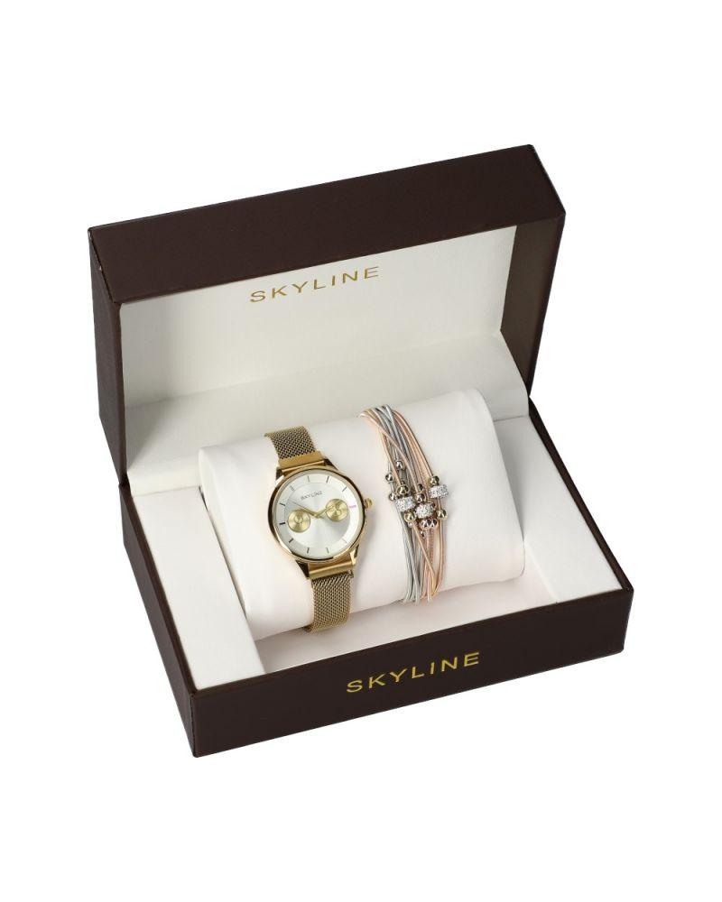 SKYLINE dámská dárková sada hodinek ve zlaté barvě s náramkem MP016 mp016