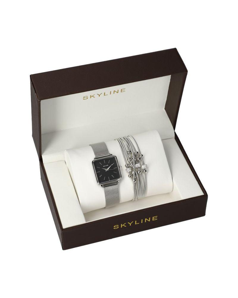 SKYLINE dámská dárková sada hodinek ve stříbrné barvě s náramkem MP015 mp015
