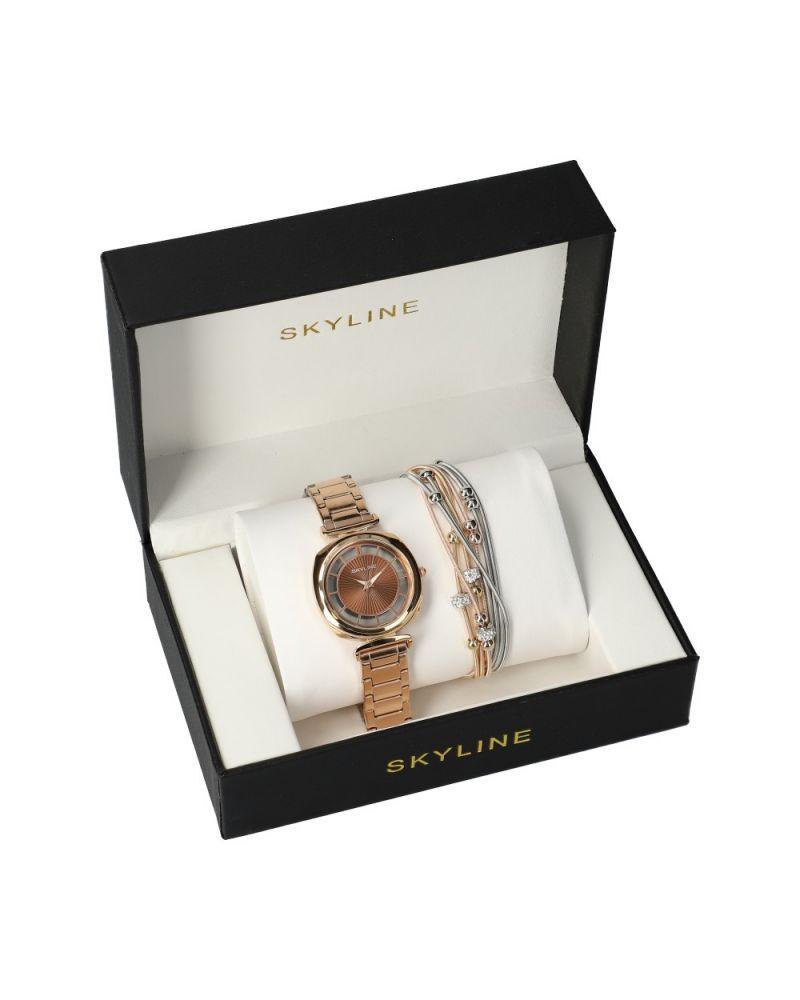 SKYLINE dámská dárková sada hodinek v zlato hnědé barvě s náramkem MP019 mp019