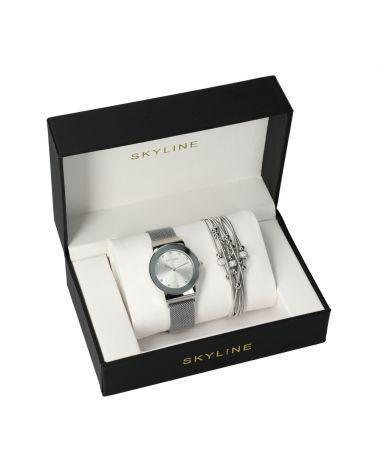 SKYLINE dámská dárková sada hodinek ve stříbrné barvě s náramkem MP011 mp011