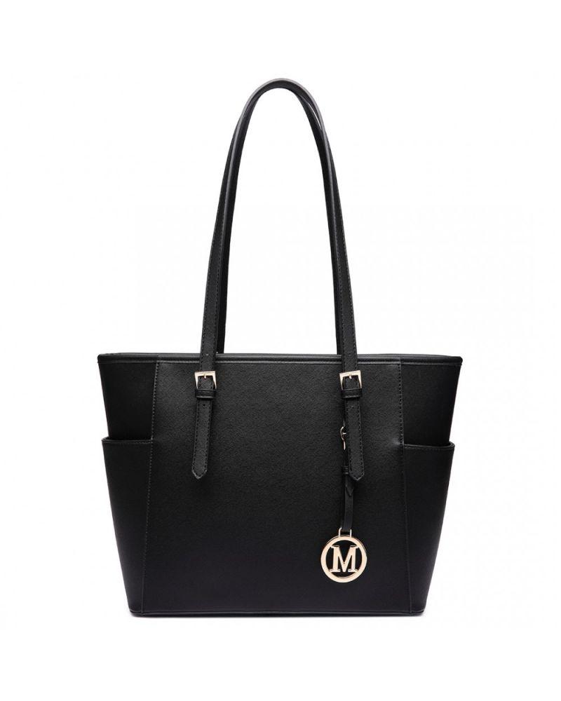 Miss Lulu černá shopper kabelka ADJUSTABLE HANDLE 1642-1 LM1642-1_BK