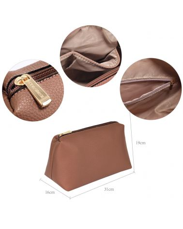 Anna Grace čokoládově hnědá hobo kabelka s pouzdrem a pompom 190 AG00190_NUDE
