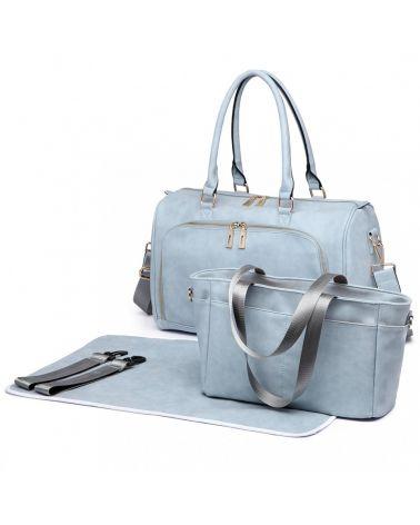 Miss Lulu sada mateřských tašek vhodná na kočárek modrá 6638 LT6638_BE