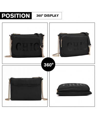 Miss Lulu crossbody kabelka černá CHIC CHAIN 6855 LT6855_BK
