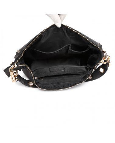 Miss lulu černá kabelka STUDDED LARGE HOBO 6815 LT6815_BK
