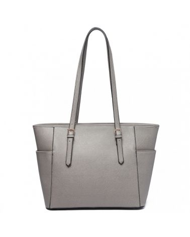 Miss Lulu světle šedá shopper kabelka ADJUSTABLE HANDLE 1642-1 LM1642-1_LGY
