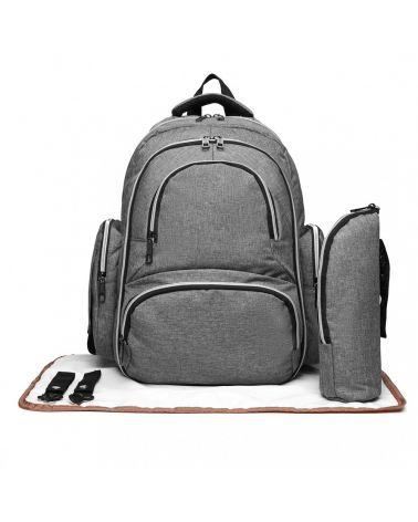 Miss Lulu SET šedý mateřský přebalovací batoh 6706 E6706_GY