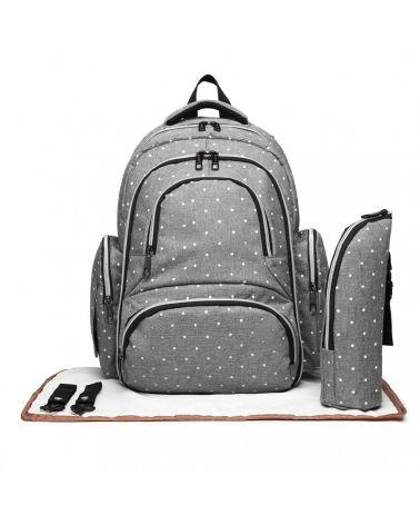 Miss Lulu SET šedý mateřský přebalovací batoh s puntíky 6706 E6706D2_GY