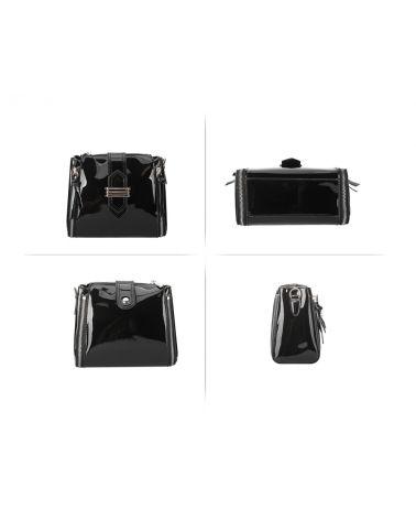 Anna Grace černá kabelka crossbody PATENT 730 AG00730_BLACK