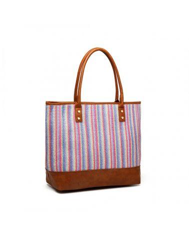 Miss Lulu dámská hnědá kabelka tote WOVEN DESIGN 2009 LH2009_BN