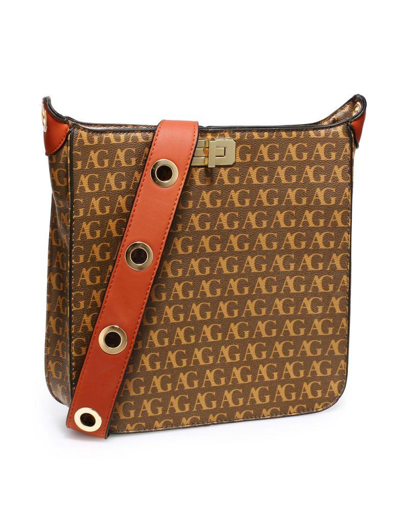 Anna Grace hnědá crossbody kabelka s potiskem 562 AG00562_BN