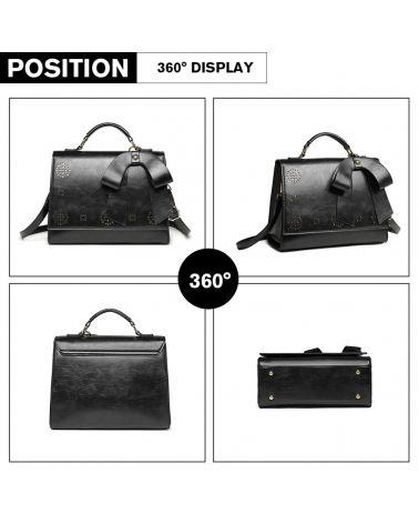 Miss Lulu černá perforovaná kabelka LASER CUT BOW 1964 LH1964_BK