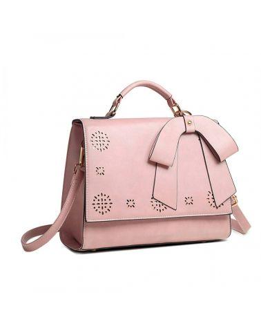 Miss Lulu růžová perforovaná kabelka LASER CUT BOW 1964 LH1964_PK