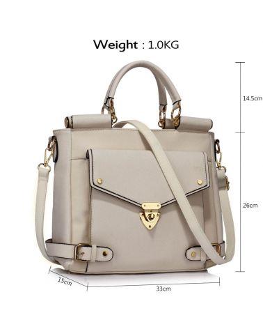 LS London bílá kabelka Twist Lock Flap AG00237A LS00237A_WHITE