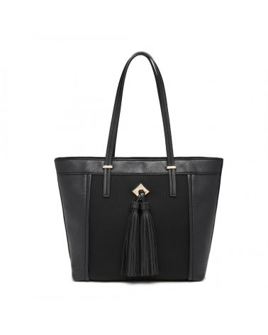 Miss Lulu černá kabelka přes rameno se střapcem 1961 LG1961_BK