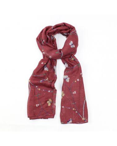Hazel & Pip vínový dámský maxi šátek WOODPECKER 4002 ZC4002C27_DPINK