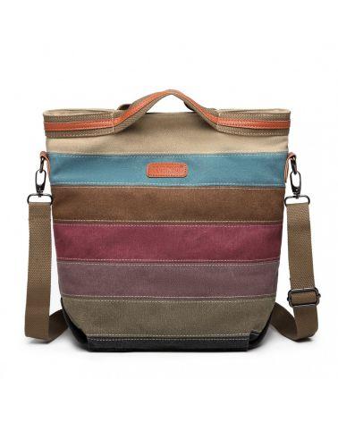 Dámská plátěná kabelka duhová nappa s barevnými pruhy E1679_RAINBOW