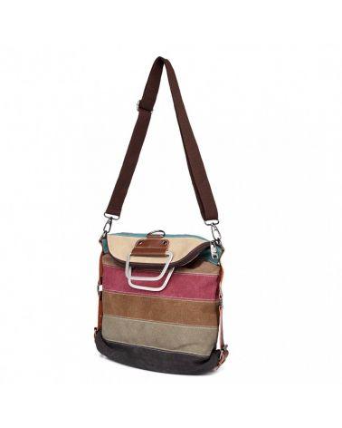 Vícebarevný dámský plátěný batoh duhový s barevnými pruhy E1711_RAINBOW