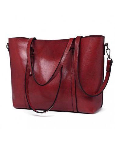 Miss Lulu velká vínově červená kabelka z imitace voskované kůže 6709 E6709_BY