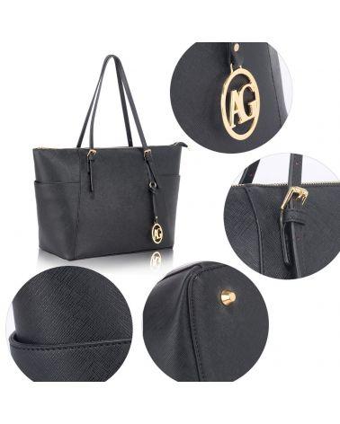 Anna Grace černá kabelka shopper velká 350 AG00350_BLACK2