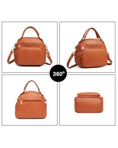 Miss Lulu hnědá kabelka BOWLER STYLE 6907 LB6907_BN