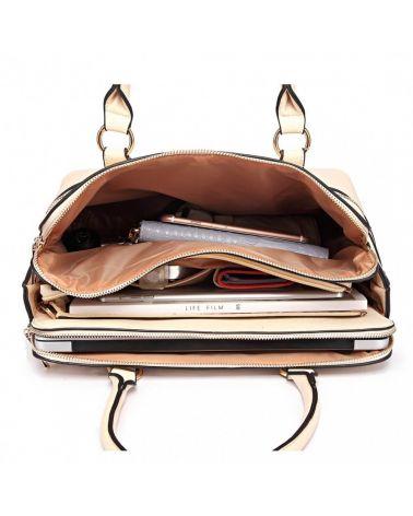 Miss Lulu béžová kabelka CLASSIC MULTI COMPARTMENT 1706 LT1706_BG