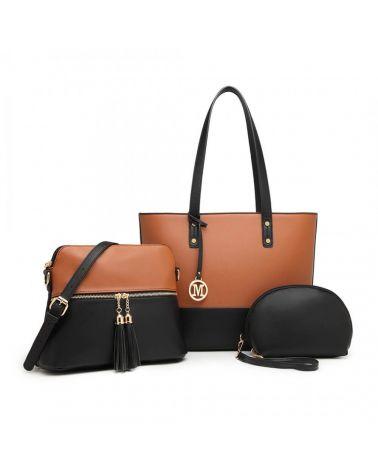 Miss Lulu kabelkový set černohnědá shopper kabelka 2023 LG2023_BK