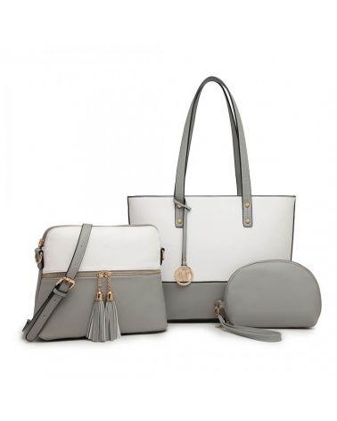 Miss Lulu kabelkový set šedá shopper kabelka 2023 LG2023_GY