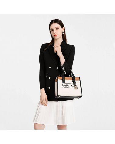 Miss Lulu béžová kabelka přes rameno LOGO 2027 LT2027_BG
