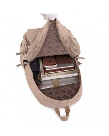 Miss Lulu nylonový batoh béžový KHAKI MULTI COMPARTMENT 1733 E1733_KI