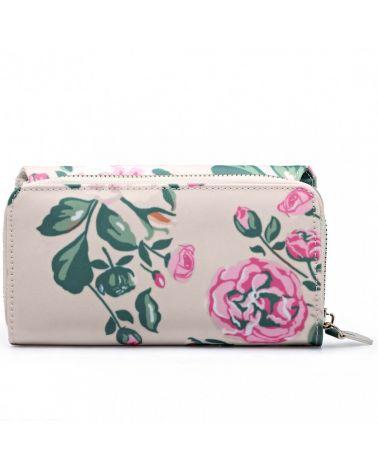 Miss Lulu dámská béžová květovaná peněženka 6682-17f LP6682-17f_BG