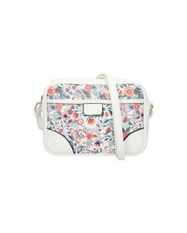 Dámská bílá květovaná kabelka crossbody 0118 AM0118_WE