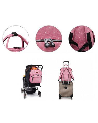 Kono mateřský přebalovací batoh na kočárek růžový s puntíky 6705 E6705D2PK