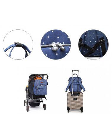 Kono mateřský přebalovací batoh na kočárek modrý s puntíky 6705 E6705D2NY