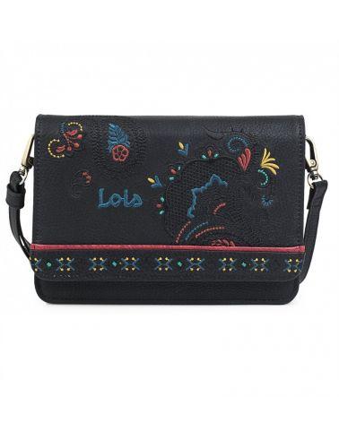 Lois černá crossbody kabelka vyšívaná 302635 ARS302635_BK